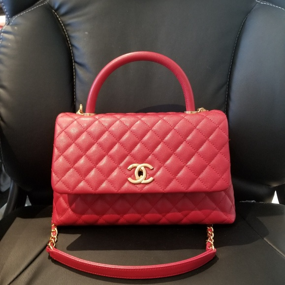 4e47a703de59ab CHANEL Handbags - Chanel Coco Handle Red Small